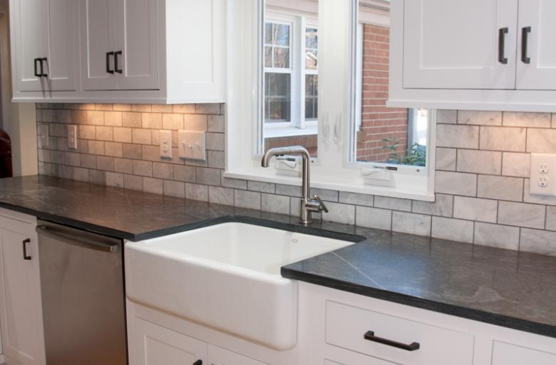 Farm Sink, Soapstone Countertops, Custom Kitchen Cabinets