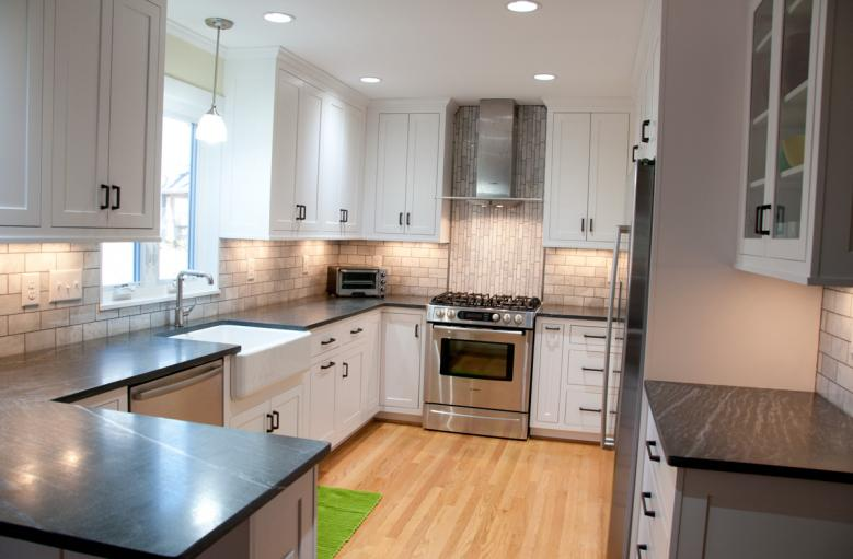 Sherwood Forest Remodeled Kitchen White Inset Cabinets Brighten This Remodel